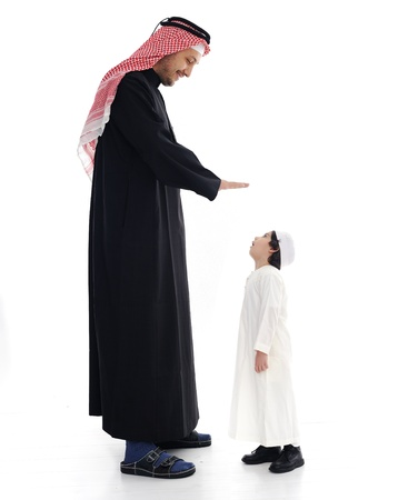 Arabic big and small, father and son photo