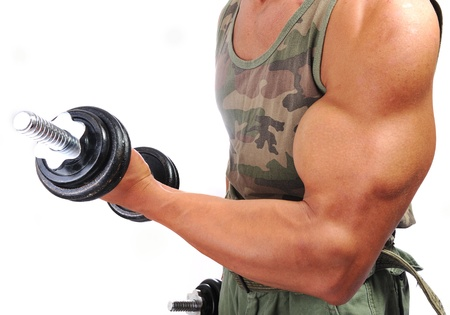 muscle guy: Strong man with a helthy body Stock Photo