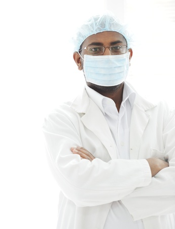 Confident African American male surgeon smiling Stock Photo - 13827920