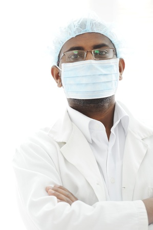 Confident African American male surgeon smiling Stock Photo - 13827875