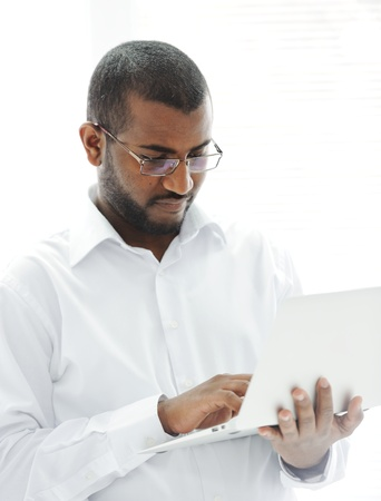 African American businessman with a laptop Stock Photo - 13827932