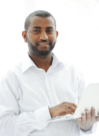 African American businessman with a laptop Stock Photo - 13827888