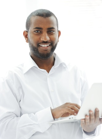 African American businessman with a laptop Stock Photo - 13827882