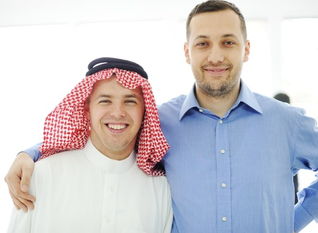 pall: Arabic and caucasian european men together
