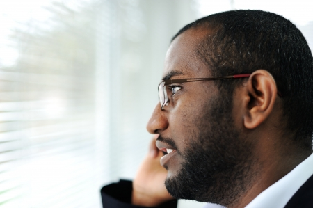 afro arab: African American man on the phone Stock Photo