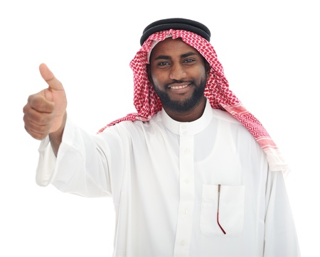 Arabic Middle eastern black man with thumb up photo