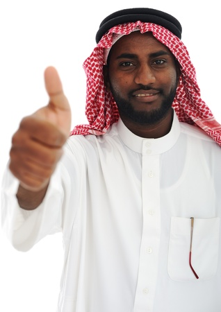 headcloth: Arabic Middle eastern black man with thumb up
