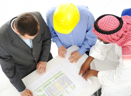 arab people: Architects at Middle east discussing engineering design project
