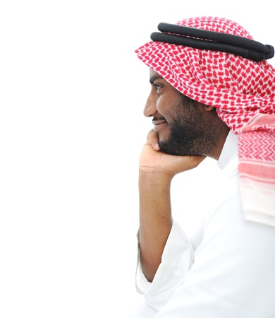 Happy successful Arabic businessman profile portrait with copy space photo