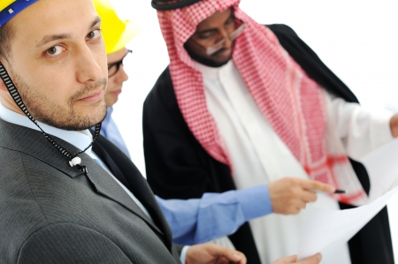 Business people having consultanting about new project at Middle east photo