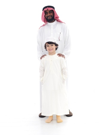 Arabic Muslim father and son standing together Stock Photo - 13822528