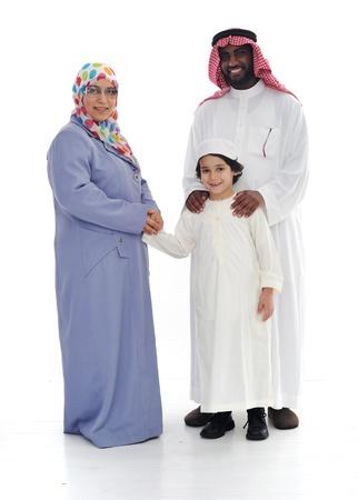 ni�os de diferentes razas: Familia musulmana, dos carreras, junto Foto de archivo