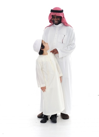 Arabic Muslim father and son standing together Stock Photo - 13827914