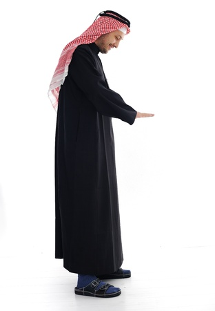 Arabic man looking up and down Stock Photo - 13827881
