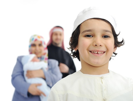 hombre arabe: Feliz familia musulmana