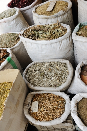 Spices and herbs at arabic market photo