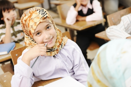 learning arabic: Children at school classroom
