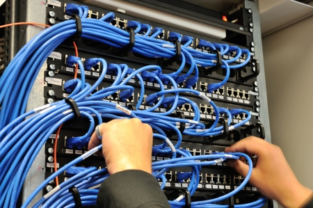 cable red: El hombre de conectar los cables de red a los switches