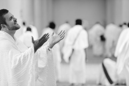 Muslim wearing ihram clothes and ready for Hajj Stock Photo - 14431515