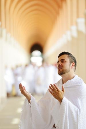 muslim pray: Muslim wearing ihram clothes and ready for Hajj