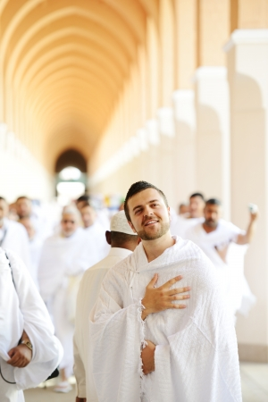 submission: Muslim wearing ihram clothes and ready for Hajj