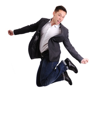 Full length of business man jumping in joy Stock Photo - 14580455