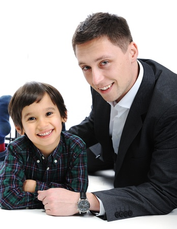 Happy father and son together photo