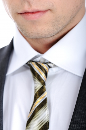 Closeup shot of business suit and tie on a man photo