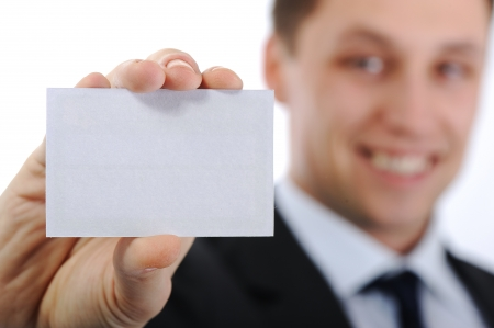 Business man holding business card photo