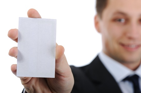 Businessman holding vertical business card photo