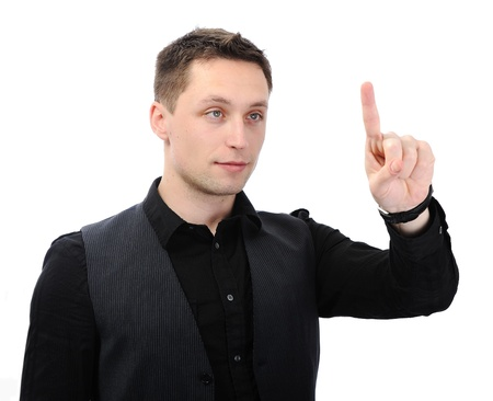 Businessman pressing an imaginary button Stock Photo - 14580496