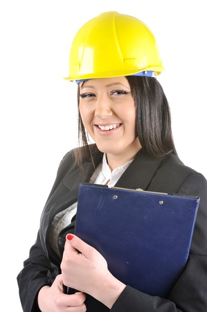 Female construction worker holding clipboard Stock Photo - 14580598
