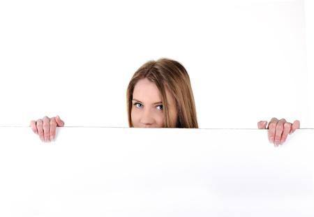 Teenage woman holding white banner Stock Photo - 14580452