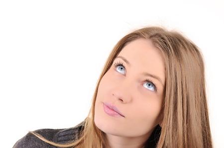 caras de emociones: Primer plano de la imagen de una hermosa adolescente Foto de archivo