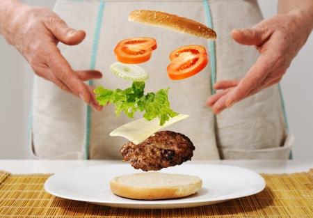 Making burger skills photo