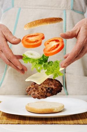 zero gravity: Conceptual making of burger