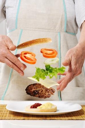 Making hamburger ingredients concept photo