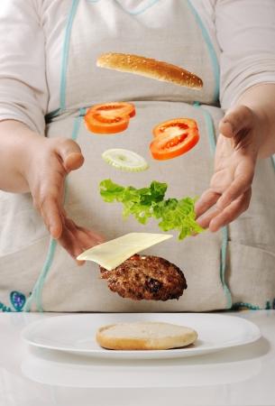 Making cheeseburger at home Stock Photo - 14593871