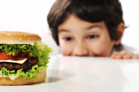 Kid and hamburger photo