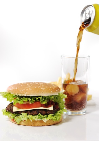 Burger and soda cola photo