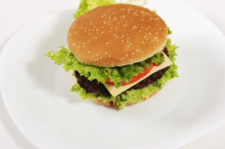 Hamburger served on plate table photo