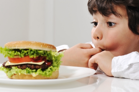 Little boy and burger photo