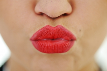 Female lips closeup photo