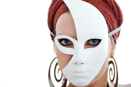 mascaras carnaval: Mujer con la bufanda y la máscara