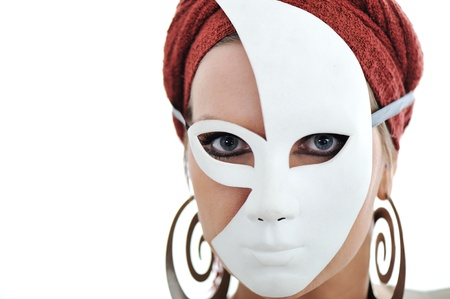 Woman with scarf and mask photo