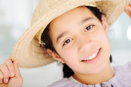 mexican girl: Cute teen girl with hat