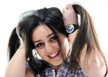 wrest: Silly hair holding girl