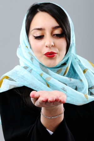 beautiful girl face: Arabic woman Stock Photo