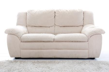 leren bank: Witte sofa Stockfoto
