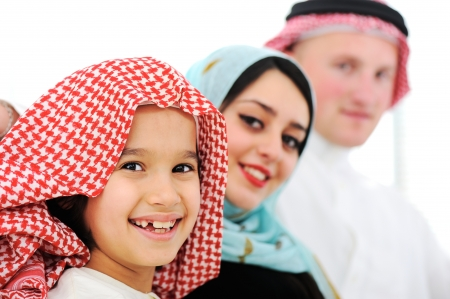 Arabic happy family at home photo